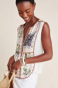 Tiny Bodhi Sleeveless Top White ~ printed summer tops