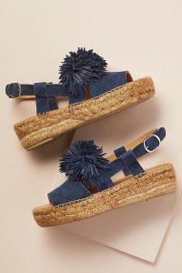 Naguisa Pommed-Leather Espadrille Sandals in Navy ~ blue pompom flats