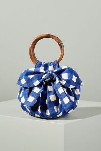 ANTHROPOLOGIE Pippa Bow-Tied Bag in Navy ~ blue checked top handle bags