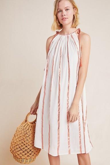 Corey Lynn Calter Striped Slip Dress Neutral Motif | metallic detailed summer dresses