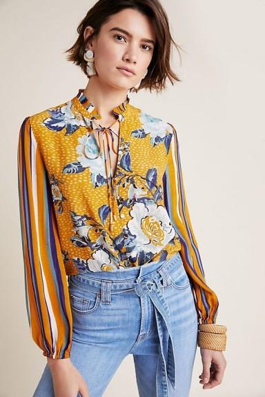 Bl-nk Breton Peasant Top Orange Motif | mixed print neck tie blouse