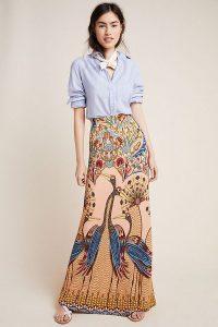 Farm Rio Mixed-Print Maxi Skirt | long length bird print skirts