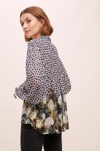 Conditions Apply Sloane Mixed-Print Peasant Blouse | floaty pussy bow blouses | spots and florals