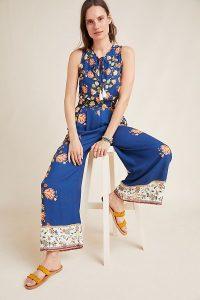 Farm Rio Dollis Floral Jumpsuit Blue Motif | mixed prints | sleeveless summer jumpsuits