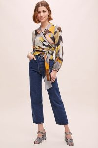 Conditions Apply Hera Abstract-Print Wrap Top Yellow Motif