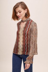 Conditions Apply Mixed-Print Peasant Blouse Brown Motif / front cut-out top