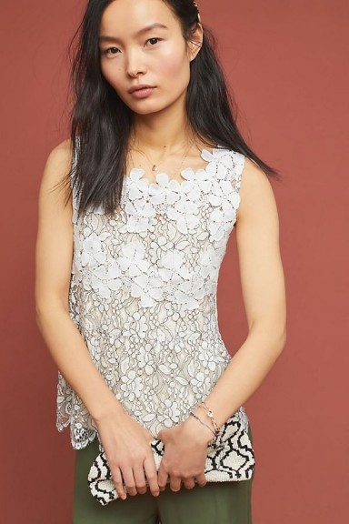 Blue Tassel Evaline Flower-Lace Top in White / floral lace tops