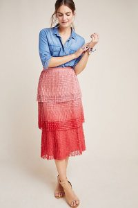 Maeve Ombre Tiered-Lace Skirt Pink