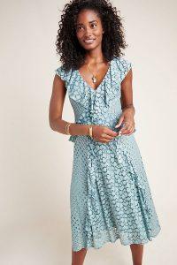 ANTHROPOLOGIE Antoinette Ruffled Midi Dress Mint