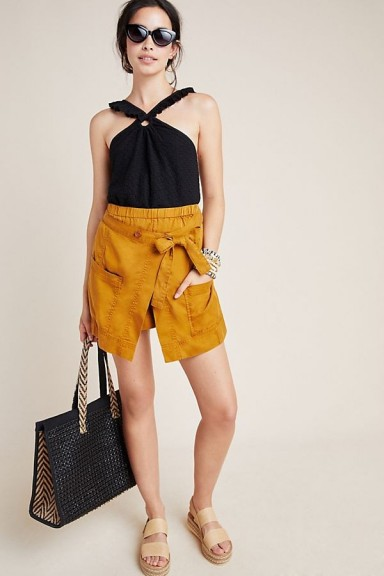Anthropologie Pennie Wrap-Utility Shorts in Honey