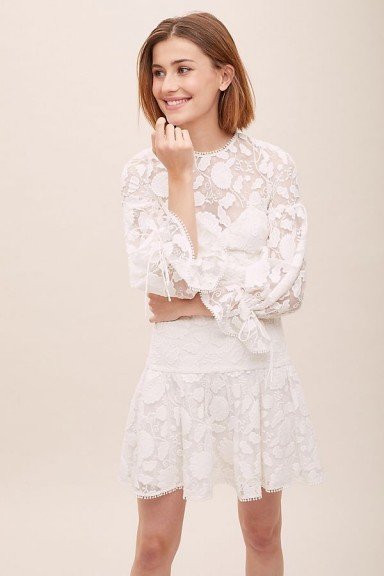 ML Monique Lhuillier Sylvia Embroidered-Mesh Dress in Ivory | summer parties | event dresses