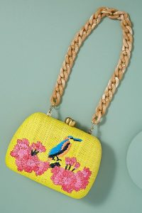 Serpui Lolita Embroidered Clutch in Yellow | bright summer bags