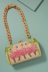 Farah Embroidered-Flamingo Clutch in Pink at Anthropologie