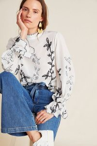Not So Serious by Pallavi Mohan Hopper Embroidered Blouse Black and White / monochrome floral blouses