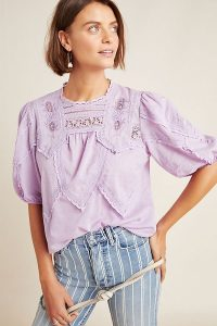 ANTHROPOLOGIE Aderyn Puff-Sleeved Lace Blouse Lavender