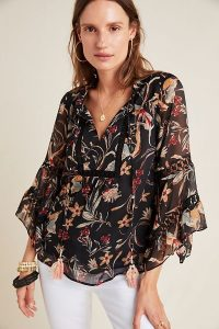 Maeve Odette Floral Peasant Blouse Black Motif / floaty fabric blouses