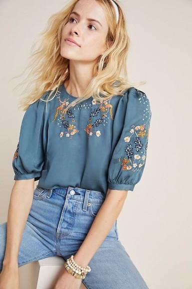 Dolan Left Coast Khalo Embroidered Blouse Light-Blue / puff sleeved blouses