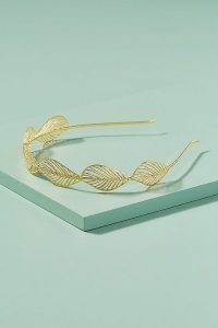 ANTHROPOLOGIE Gloria Leaf Headband Gold