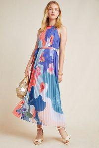 Pankaj & Nidhi Vera Halterneck-Printed Maxi Dress in Purple Motif   pleated summer dresses