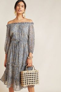 Anthropologie Kira Off-The-Shoulder Peasant Dress Blue Motif | floaty bardot-neckline dresses