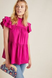 Maeve Mavis Tunic in Pink | tiered angel sleeved top