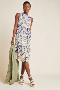 Anthropologie Faustina Midi Dress | sleeveless pleat detail summer frock
