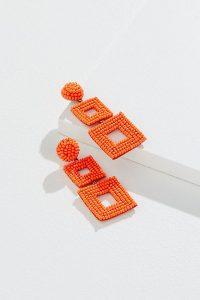 Ellorie Beaded Chandelier-Drop Earrings in Orange | bright retro jewellery