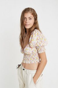 UO May Smocked Puff Sleeve Cropped Top White Multi