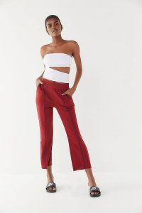 Out From Under Finley Pintuck Cropped Flare Pants in Maroon | red crop leg trousers