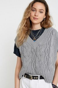 UO Ollie Oversized Jumper Vest in Grey | slouchy knitted tank