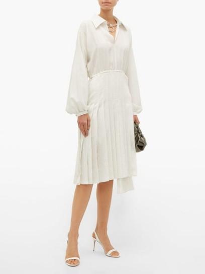 FENDI Balloon-sleeve Swiss-dot silk midi dress in white ~ chic shirt dresses