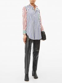 CHARLES JEFFREY LOVERBOY Band-collar striped cotton shirt ~ bold stripes