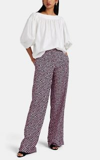 BARNEYS NEW YORK Doodle-Heart Crêpe De Chine Pants ~ navy trousers with pink and white hearts