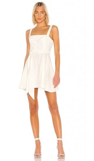 BCBGeneration Tie Waist Mini Dress Off White – square neck skater - flipped