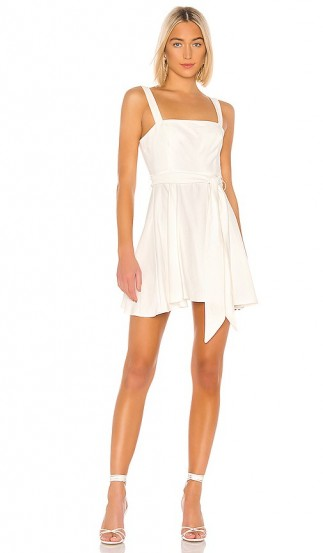 BCBGeneration Tie Waist Mini Dress Off White – square neck skater