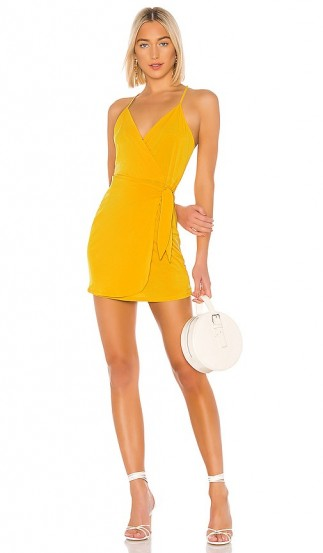 BCBGeneration Wrap Front Dress Pineapple – yellow side tie mini