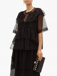 SIMONE ROCHA Beaded neckline tulle & lace blouse in black ~ romantic ruffles