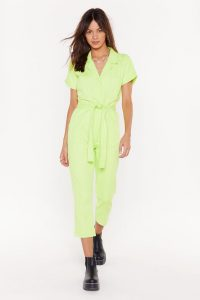 NASTY GAL Belted Short Sleeve Boilersuit in Lime