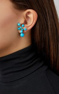 Sorab & Roshi Berry 18K Gold And Turquoise Earrings ~ blue stone jewellery