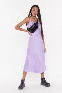 NASTY GAL Bias Cut V-Neck V-Back Midi Dress in Lilac