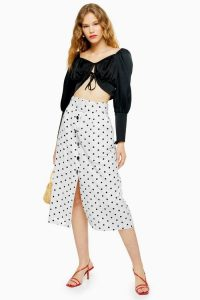 Topshop Black And White Belted Spot Midi Skirt | monochrome front button skirts