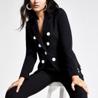 RIVER ISLAND Black button front blazer – chic jackets