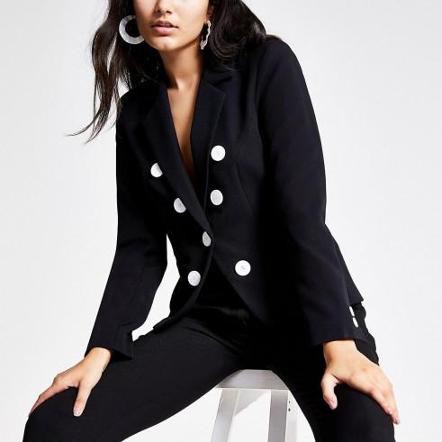 RIVER ISLAND Black button front blazer – chic jackets