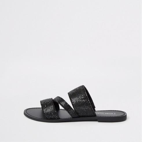 River Island Black diamante sandals | casual summer glamour
