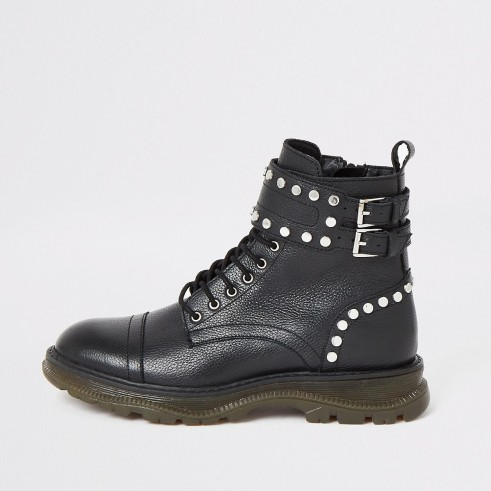 RIVER ISLAND Black leather studded lace-up hiking boots ~ embellished double buckle boot
