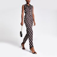 RIVER ISLAND Black mixed print boiler jumpsuit – patterned boilersuits