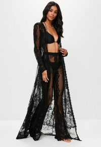 MISSGUIDED black premium eyelash lace kimono – long sheer kimonos