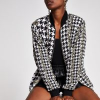 RIVER ISLAND Black printed bomber jacket – monochrome checked jackets