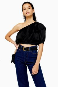 TOPSHOP Black Satin One Shoulder Blouse