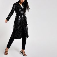 RIVER ISLAND Black vinyl croc embossed trench coat – shiny wrap style coats